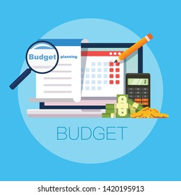 Budget planning concept in flat style. Modern design for money Budget, web sites, infographic. Vector illustration - Vector
