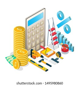 Budgeting for home maintenance, renovation concept vector isometric illustration. Home repairs budget composition for web banner, website page etc.