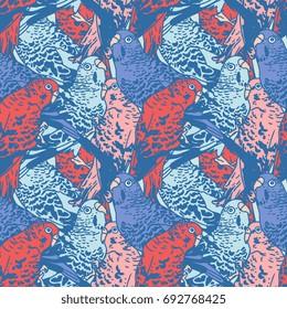 Budgie seamless pattern