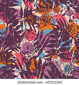 Budgie seamless pattern with tropical palm leaves