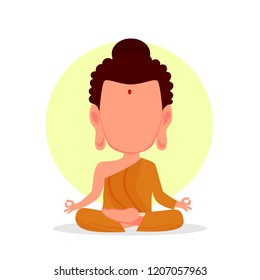 Budha icon isolated. Buddha in cartoon style. Meditation concept. Vector stock.