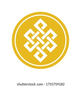 budhist endless knots circle budhism symbol gold coin vector template