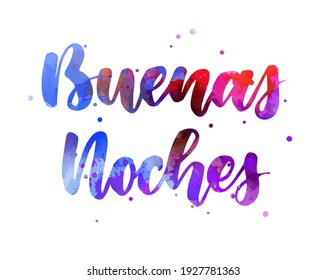 Buenas noches (Good night in Spanish) - handwritten modern calligraphy watercolor lettering. Blue and purple colored.