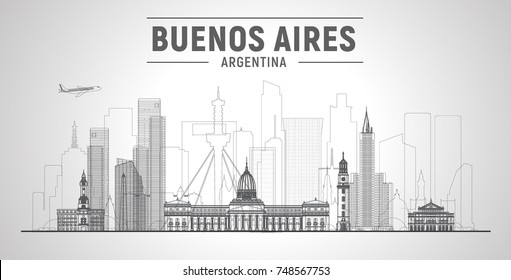 Buenos Aires ( Argentina ) line skyline with panorama in white background. Vector Illustration. Business travel and tourism concept with modern buildings. Image for presentation, banner, web site.