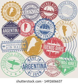 Buenos Aires Argentina Set of Stamps. Travel Stamp. Made In Product. Design Seals Old Style Insignia.