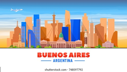 Buenos Aires ( Argentina ) skyline with panorama in white background. Vector Illustration. Business travel and tourism concept with modern buildings. Image for presentation, banner, web site.