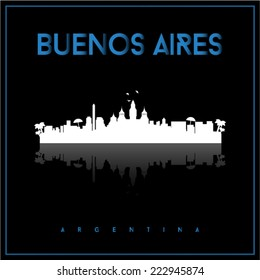 Buenos Aires, Argentina skyline silhouette vector design on parliament blue and black background.