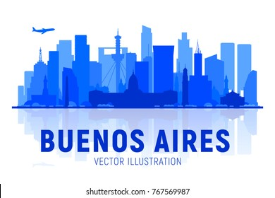 Buenos Aires ( Argentina ) skyline silhouette with panorama in white background. Vector Illustration. Business travel and tourism concept with modern buildings. Image for presentation, banner, web