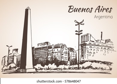 Buenos Aires cityscape with obelisk. Argentina. Sketch. Isolated on white background
