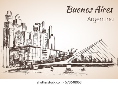 Buenos Aires cityscapewith bridge. Argentina. Sketch. Isolated on white background