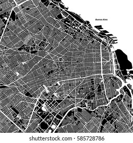 Buenos Aires One Color Map, Vector Outline Version, ready for color change, Artprint