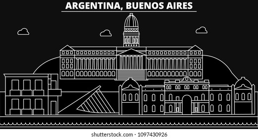 Buenos Aires silhouette skyline. Argentina - Buenos Aires vector city, argentinian linear architecture, buildings. Buenos Aires line travel illustration, landmarks. Argentina flat outline icon, s
