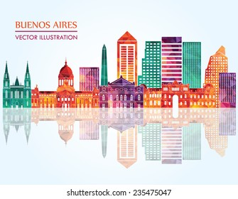 Buenos Aires skyline detailed silhouette. Vector illustration
