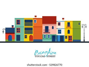 """Buenos Aires. Typical houses of """"La Boca"""" neighborhood style. """"Caminito"""" street"""