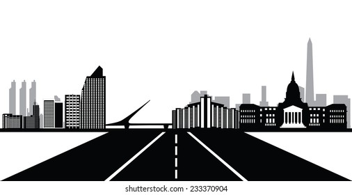bueonos aires skyline with road
