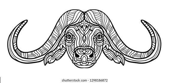 Buffalo animal coloring book for adults raster illustration. Anti-stress coloring for adult. Zentangle style. Black and white lines. Lace pattern. Collection of animals.