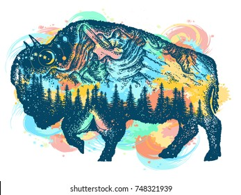 Buffalo bison color tattoo art. Mountain, forest, night sky. Travel symbol, adventure tourism