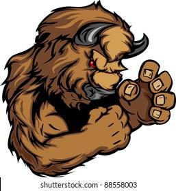 Buffalo or Bison Fighting Mascot Body Vector Illustration