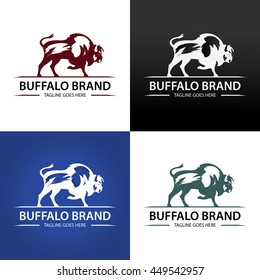 Buffalo Brand Logo design template ,Vintage Buffalo logo design concept ,Vector illustration