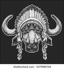 3b9fa564b1e59 Buffalo, bull, ox Cool animal wearing native american indian headdress with  feathers Boho chic