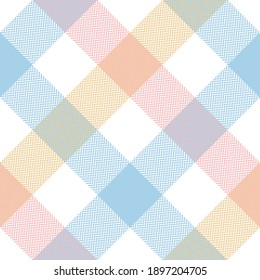 Buffalo check pattern in pastel pink, blue, yellow, white. Herringbone textured seamless light tartan plaid for flannel shirt, tablecloth, blanket, or other modern spring summer fabric design.