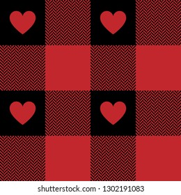 Buffalo check plaid gingham pattern for romantic shirt fabric design. Herringbone pixel texture with red hearts. Valentine's Day textile. Seamless tile.