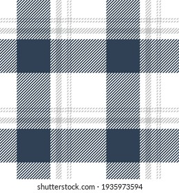 Buffalo check plaid pattern in blue, grey, white. Seamless decorative tartan graphic for tablecloth, gift wrapping paper, flannel shirt, other modern spring summer autumn winter fashion textile print.