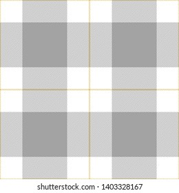 Buffalo check plaid seamless pattern vector in grey, white, and yellow. Tartan gingham / vichy plaid for flannel shirt or other modern fashion clothing design.
