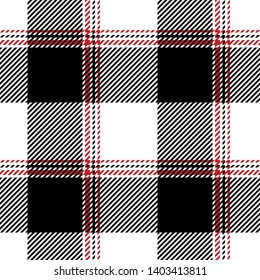 Buffalo check / vichy / gingham pattern seamless vector in black, white, and red. Scottish tartan plaid for modern fashion textile design.
