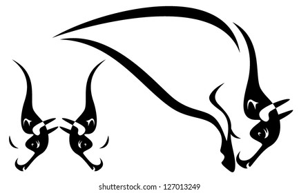 buffalo design elements - two heads of fighting bulls and stylized profile