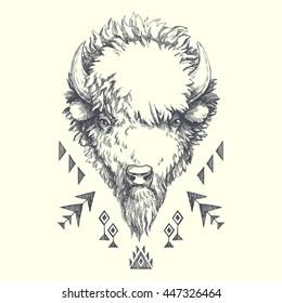 Buffalo. ethnic american indian ornamental composition. Wild nature. tribal vector ornamental totem animal. hand drawn illustration