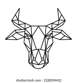 Buffalo face, geometric style, vector illustration.