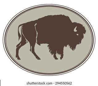 Buffalo. Hand-drawn illustration. Design for logo, t shirt, bag etc. Framed variant.
