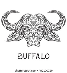 Buffalo head with abstract ornament. Tattoo art. Design concept for banner, card, scrap booking, t-shirt, bag, print, poster.Highly detailed vintage black and white hand drawn vector illustration