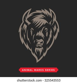 Buffalo Head Animal Symbol. Great for Badge Label Sign Icon Logo Design. Quality Americana Bison Emblem. Premium retro style drawing. Hand crafted vector illustration. Authentic vintage graphics.