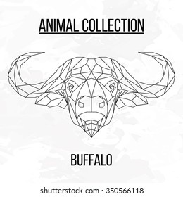Buffalo head geometric lines silhouette isolated on white background vintage vector design element illustration