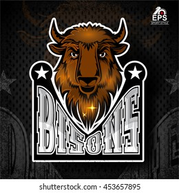 Buffalo head with horns. Logo for any sport team bison