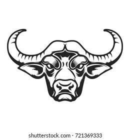Buffalo head icon on white background. Design element for logo, label, emblem, sign. Vector illustration