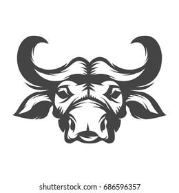 Buffalo head illustration isolated on white background. Design elements for logo, label, emblem, sign. Vector illustration