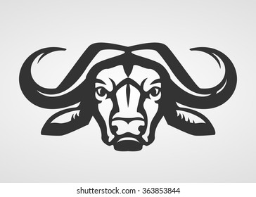 Buffalo head silhouette. Vector bull logo template.