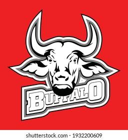Buffalo head in vector illustration.