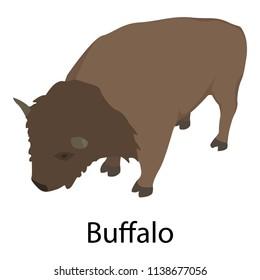 Buffalo icon. Isometric of buffalo vector icon for web design isolated on white background
