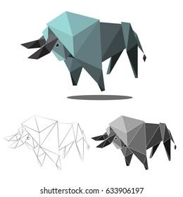 buffalo ilustration graphic art in low polygon vector , geometric illustration