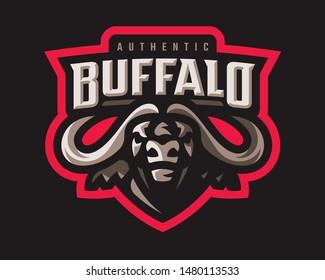 Buffalo modern logo. Bull template design emblem for a sport and eSport team.