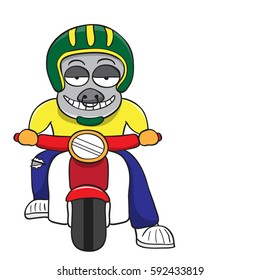 Buffalo motorcycle ride vector cartoon illustrations on a white background.