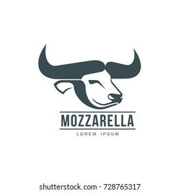 212776fad20 Buffalo mozzarella italian cheese brand, logo design icon pictrogram  silhouette. Horned bull head side