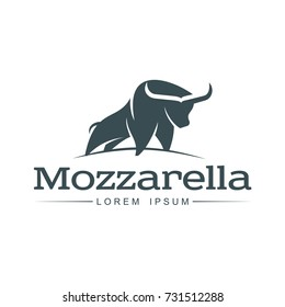 Buffalo mozzarella italian cheese brand, logo design icon pictrogram silhouette. Horned bull illustration with mozzarela inscription. Isolated flat illustration on a white background.