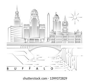 Buffalo, New York skyline minimal linear vector illustration and typography design