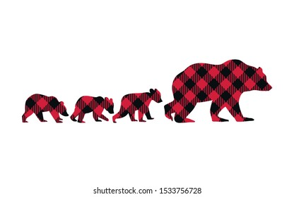 Buffalo Plaid Bear Family. She Bear and her three cubs. Vector illustration of wildlife.
