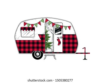 Buffalo plaid Christmas  camper. Vintage vector illustration.   Engraved design element on a white background.  Christmas style.